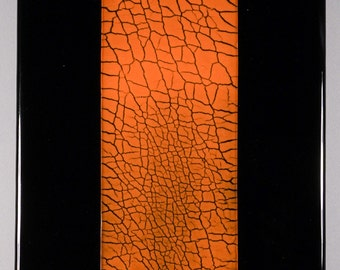 Panel 1, fused glass, crackle glass insert, wall panel 9 1/2 x 14 7/8 inches