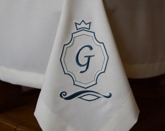Monogram Tablecloth Custom Made, Rectangle Tablecloth, Square Tablecloth, Table Cloth Letter Monogram, Machine emroidery monogram