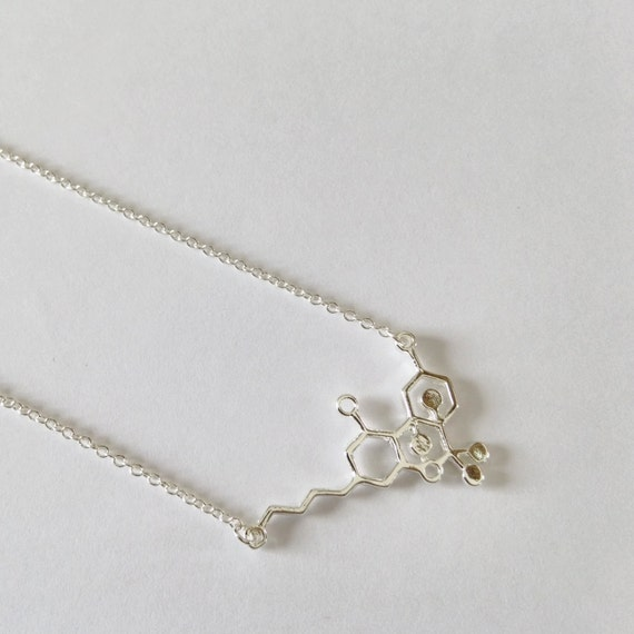 silver thc molecule necklace delicate 18 by piccadillypendants
