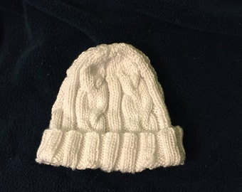 Snowball White Knitted Hat