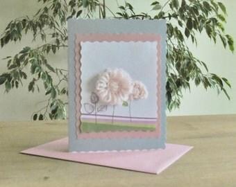 crochet flower card, flowers card, flower ornament, handmade card, greeting cards, 3d crochet flower embellishments, birthday cards