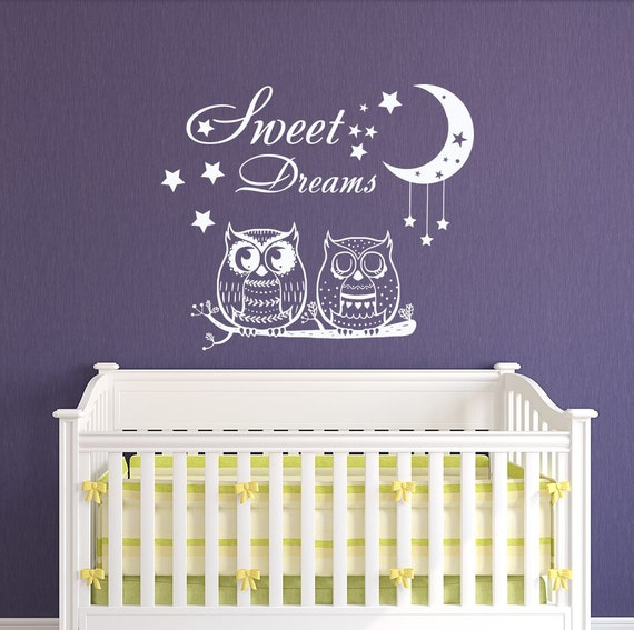 Sweet Dreams Wall Decals Nursery Owl Decal Stars Vinyl Sticker