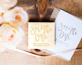 Handlettered Save the Date Stamp - Personalized Save the Date Stamp, Save the Date Idea, Engagement Stamp, Invitation Stamp (Style 17)
