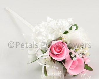 Artificial Wedding Flowers, Baby Pink & White Rose Flower Girl Wand