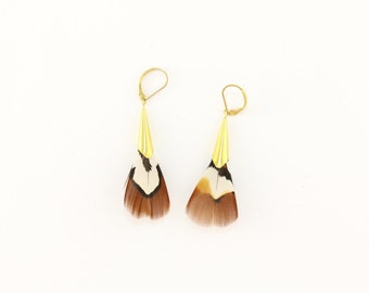 Lorenz pheasant feather earrings