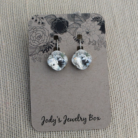 Designer Inspired Swarovski Crystal Earrings - classic clear Crystals set in antique silver