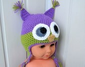 "Children's cap, knitted hat, cap ""Owl"", a hat, Knitted clothing, lilac, gift for a child, ready to ship."