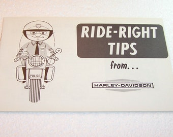 Vintage Motorcycle Book Ride-Right Tips from Harley Davidson 1960s Motorcycle Gifts Instruction Booklet Motorcycle Riding Reference Guide