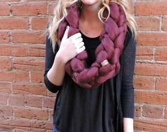 Chunky scarf, knit cowl, merino wool
