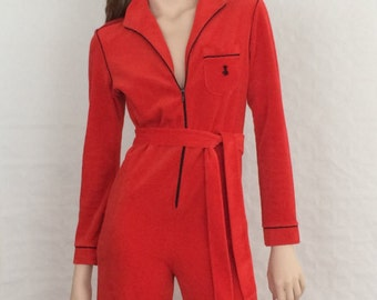 House suit / casual wear / nightwear / overall / jumpsuit / red flared / sexy / vintage / 1970s / size: XS