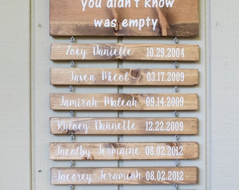 Rustic Wood Grandchildren Sign with Name and DOB Grandchildren fill a place in your heart you didn't know was empty
