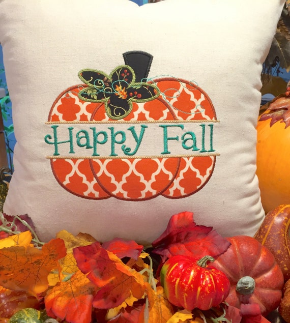 Happy fall decorative pillows thanksgiving decor pumpkin for Thanksgiving 2016 home decorations