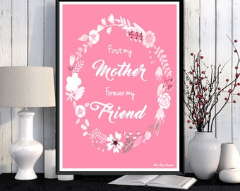 Mother's day gift, Mother's day, Love illustration, Love you mom, Mother's day poster, Mother gift idea, Wall decor, Home decor, Art print