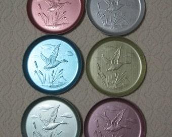 Aluminum Coasters, Set of 6, Pastel Colors, Goose, Cattails, Vintage