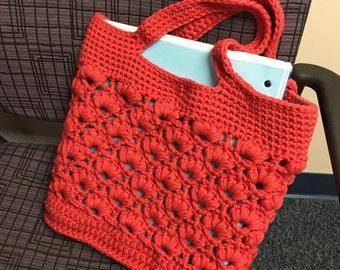 Pink Orange Berry Tote Bag | Market Bag | Crochet Purse | Cotton Nylon Bag