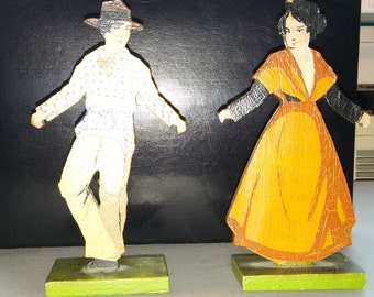 Vintage Etienne Laget Wooden Figures; Artistic Toy of France