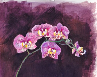 Orchid Greetings card(blank) from original acrylic painting on card botanical study