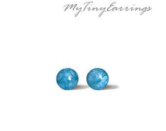 4mm 6mm 8mm Stud Mini Earrings Mediterranean Blue - Stainless Steel Silver Plated Posts plus High Quality Epoxy Resin