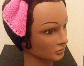 Black with Pink Bow Ear Warmer
