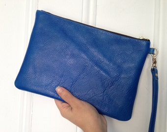 NEW! Bright Blue Leather Clutch With Detachable Wristlet - Makeup Pouch - Leather Clutch - Gifts for him. Gifts for Her under 75.