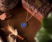 Galaxy cameo pendant necklace circular handmade