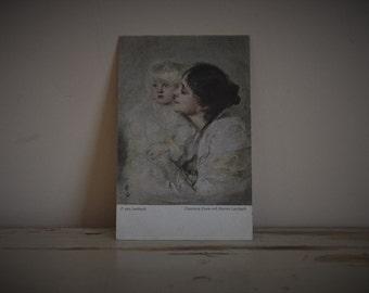 Vintage German Postcard - F. von Lenbach 'Eleonore Duse mit Marion Lenbach' - Hanfstaengl's Künstlerkarte Nr 44 - Collectible - Scrapbooking