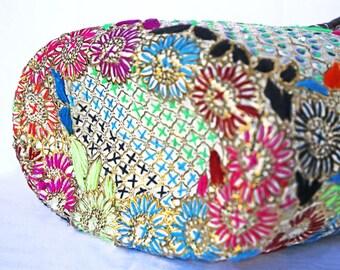 Embroidered flower wicker basket