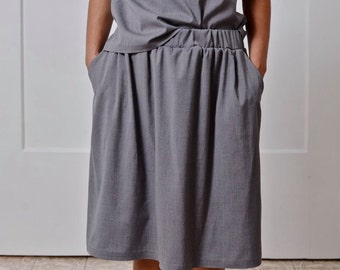 Women skirt with elastic waist and pockets