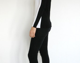 Elegant Black and White Colour Block Long Sleeved T-shirt/Fitted Top/Black Top / Designer Tee/Long Sleeve Black and White Tee