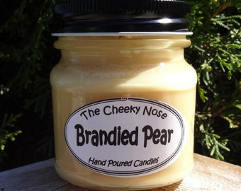 Soy Candle, Pear Candle, Scented Candle, Brandied Pear Candle, Soy Blend Candle, Scented Soy Candle, Paraffin, Birthday Gift, Gold Candle