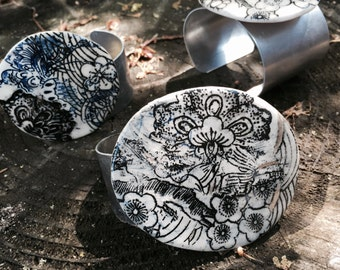 Black and White floral cuff bracelet