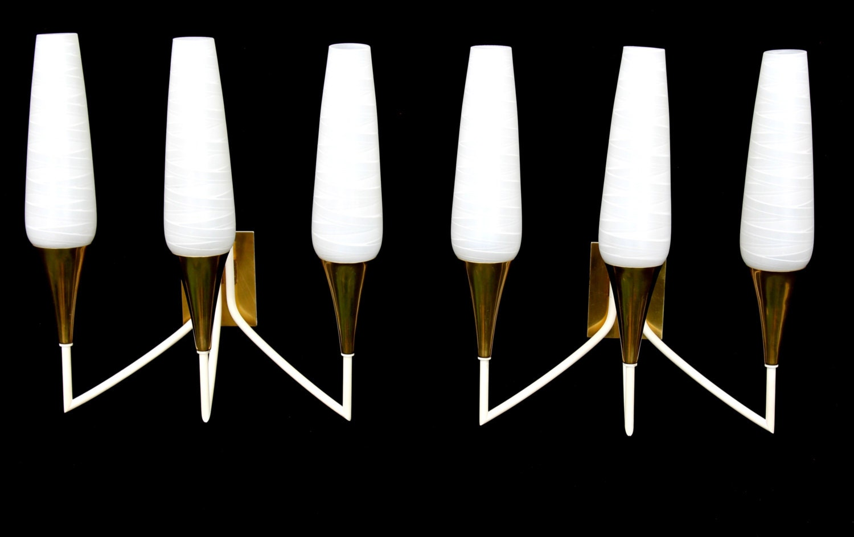 Pair brass & art glass sconces stilnovo type by grafvonbrueck