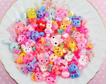 Kawaii Bunny Cabochon Assorted Grab Bag Mix Kawaii Flatback Decoden Scrapbook Lot Resin Clay Craft DIY
