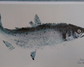 Gyotaku  Lori Hatch   King Salmon    Fish print   signed   numbered  limited edition   cabin    rec room    cottage