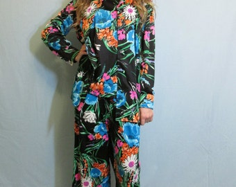 Dark Disco Floral Suit Set | 3 pc 1970| Lounge Wear | Modern Size Small 6