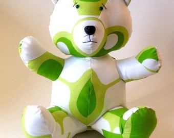 VINZ Bear - Handmade Plush - Cotton with vintage 60s  patterns