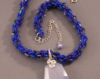 Blue Chalcedony Pendant with Blue Beaded Kumihimo Rope Necklace