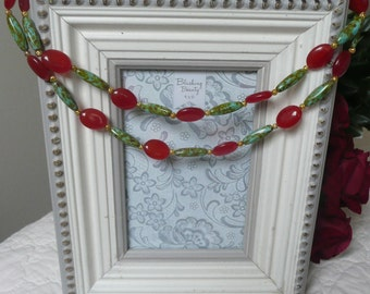 Handmade necklace Red jade and green glass necklace Two strands necklace with red and green accents Bridal wedding party necklace