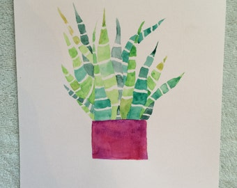 Watercolor Delicate Succulent ORIGINAL Painting