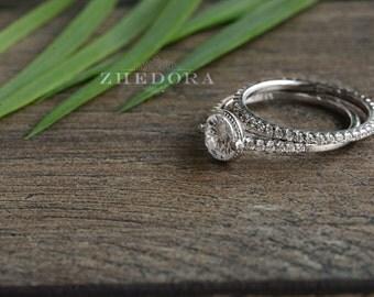 1.3 CT Round Cut Bridal Engagement Ring Set Eternity Wedding Band in Sterling Silver Bridal Set Rhodium Plated Wedding Set XMGRS087