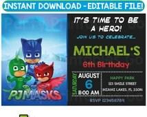 SALE-> 50% OFF Pj Masks invitation, Pj Masks birthday invitation, Pj Masks party invitation, Pj Masks Party, Editable PDF, Instant Download