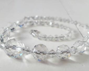 Vintage Clear Crystal Stone Necklace. Single Strand. 1940's 1950's Metal Chain. Silver Czech Czechoslovakian Wedding, Bride, Bridesmaid