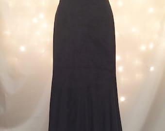 Black Suede Long Mermaid Skirt - Black Boho Goth Maxi Skirt with Flared Bottom