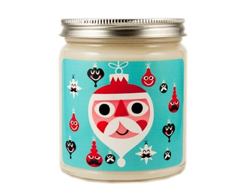 Mid Century Christmas Candle, Holiday Candle, Scented Candle, Vintage Candle, Container Candle, Soy Candle, Christmas Candle,