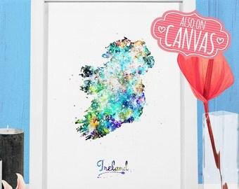 Ireland Map Canvas Watercolor, Ireland Art Print, Ireland Poster Watercolor, Canvas Art Prints, Ireland Wall Art Decor, Ireland Map Print 1