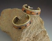 Big Hoop Earrings faux burl wood sterling silver inlaid beads on brass hoops sterling posts and clutch backings