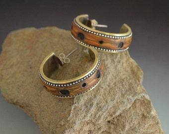 Big Hoop Earrings faux burl wood sterling silver inlaid beads on brass hoops sterling posts and clutch backings
