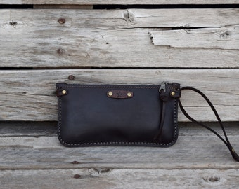 Large Zippered Wallet / READY TO SHIP / Phone Pouch / Hand Stitched Leather / Large Wallet / Feral Empire