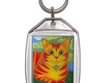 Sun Cat Keychain Rajah Golden Fantasy Cat Art Keychain Keyring Cat Lovers Gifts