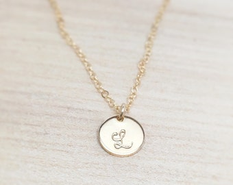 Gold Initial Necklace, Small Initial Necklace, Personalized Gift, Mom Necklace, Mothers Necklace, Tiny Initial Disc, Cursive, 14k gold fill
